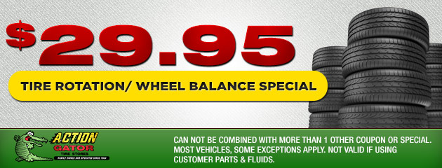 $29.95 Tire Rotation/Wheel Balance