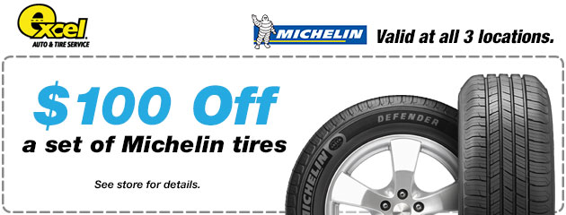 $100 Of Any Set of Michelin Tires