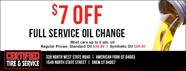 $7.00 off full service oil change