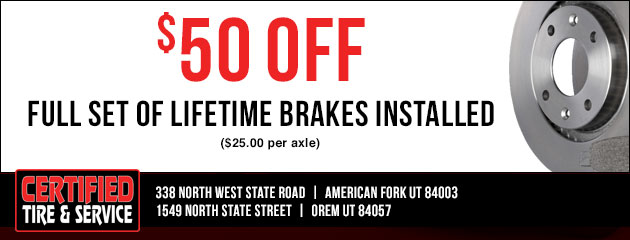 $50.00 off full set of Lifetime Brakes Installed