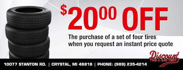 $20 off the purchase of a set of four tires when you request an instant price quote