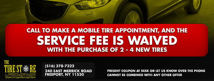 Call to make a mobile tire appointment, service fee is waived