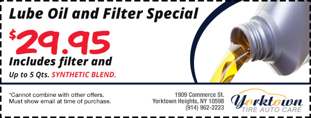 Lube Oil and Filter Special - $29.95
