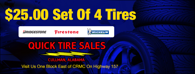 $25.00 Set of 4 Tires (Bridgestone, Firestone, Michelin)