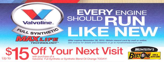 Valvoline $15 Reward card