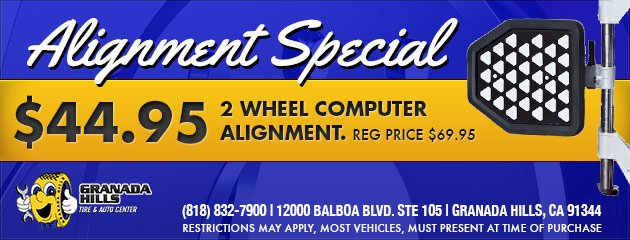 $44.95 FOR A 2 WHEEL COMPUTER ALIGNMENT