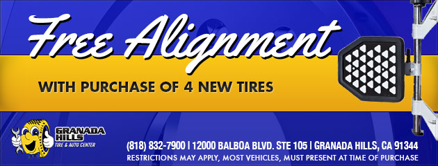 FREE ALIGNMENT WITH PURCHASE OF 4 NEW TIRES
