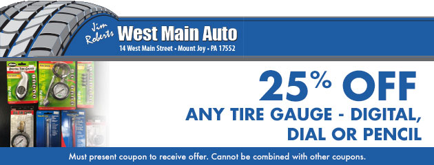 25% off any tire gauge - digital, dial or pencil