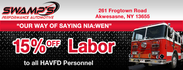 15% Off Labor To All HAVFD Personnel