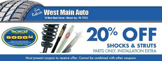 Shocks and struts 20% off