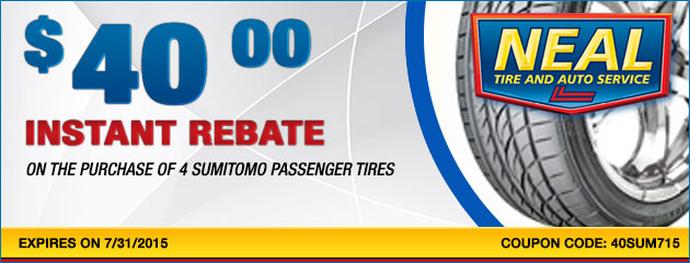 $40 instant rebate on the purchase of 4 Sumitomo Passenger Tires