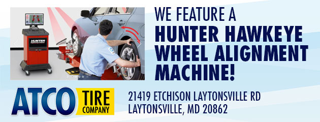 We Feature a Hunter Hawkeye Wheel Alignment Machine!