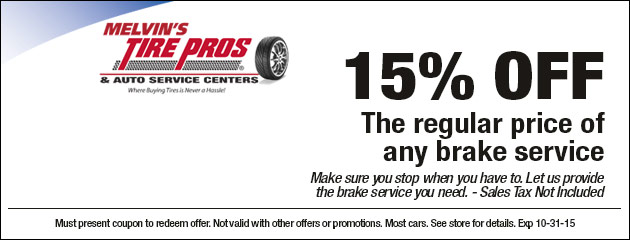 5% off the regular price of any brake service
