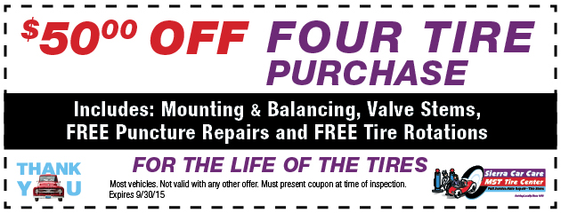 Special $50 Off With 4 Tire Purchase