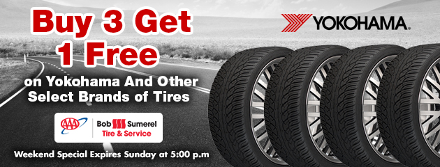 Buy 3 Get 1 Free on Yokohama and Other Select Brands of Tires