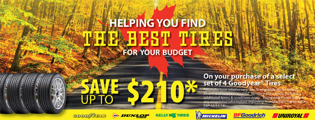 Save Up To $210 On Select set Of 4 Goodyear Tires