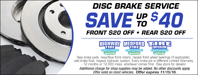 Disc Brake Service Save Up To $40