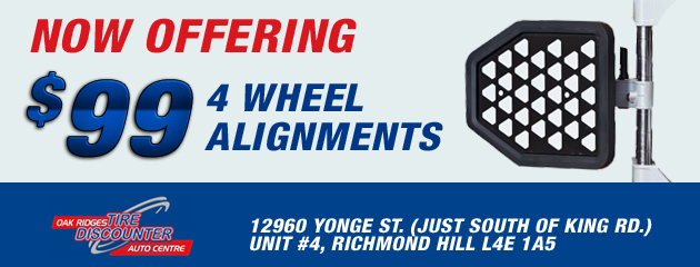 Now offering $99 4 wheel alignments