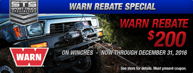 Warn Rebate up to $200 on Winches