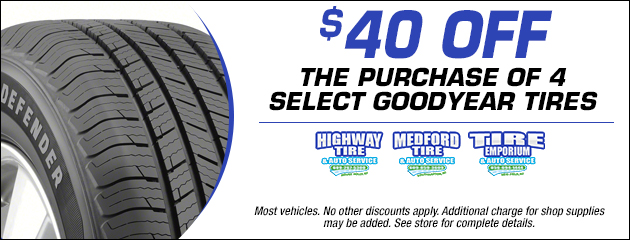 $40 Off The Purchase of 4 Select Goodyear Tires