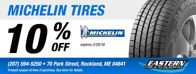 10% off Michelin Tires