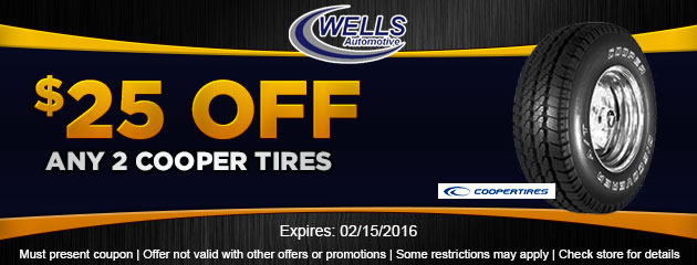 $25 OFF Any 2 Cooper Tires