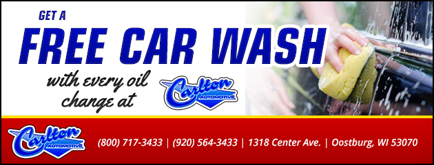 Get a free car wash with every oil change at Carlton Automotive