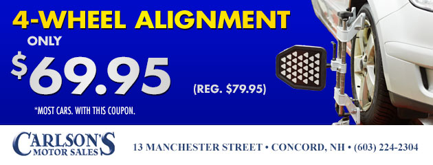4 Wheel Alignment Only $69.95