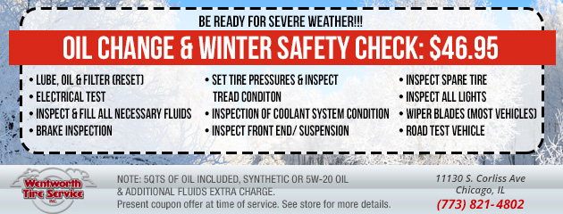 OIL CHANGE & WINTER SAFETY CHECK: $46.95