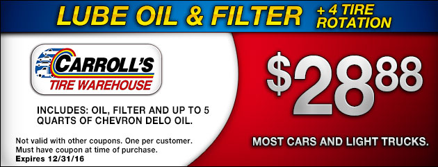 Lube Oil Filter plus 4 Tire Rotation
