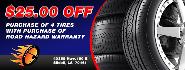 $25.00 off purchase of 4 Tires
