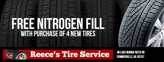 Free nitrogen fill with purchase of 4 new tires