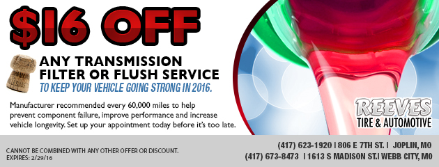 $16 off Any transmission filter or flush service