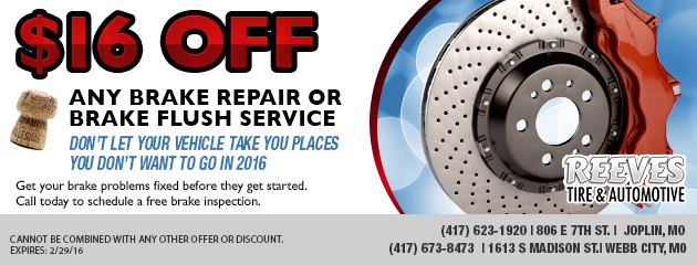 $16 off Any brake repair or brake flush service