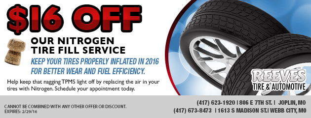 $16 off our Nitrogen tire fill service.