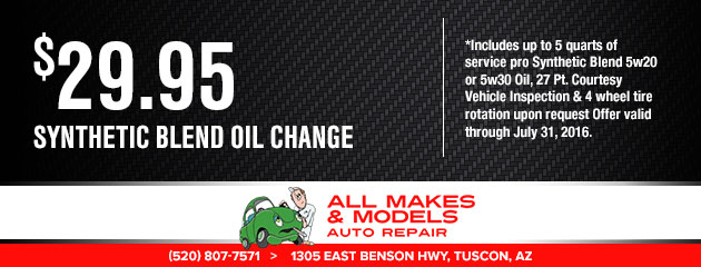 synthetic blend oil change $29.95