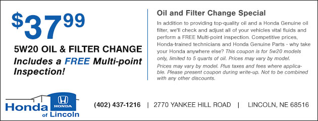 $37.99 5W20 Oil and Filter Change plus a Free Multi-point Inspection