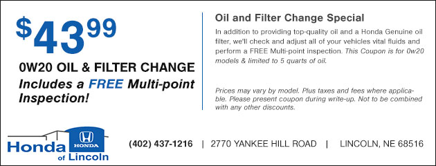 $43.99 0W20 Oil and Filter Change plus a Free Multi-point Inspection