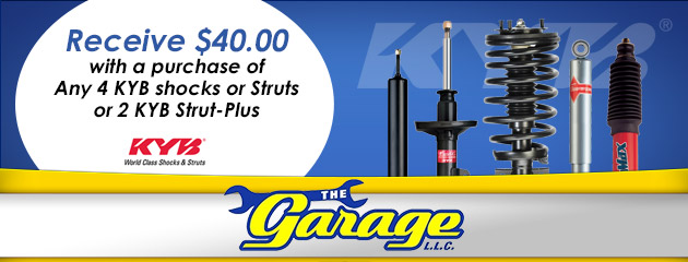 Receive $40.00 with a purchase of Any 4 KYB shocks or Struts or 2 KYB Strut-Plus