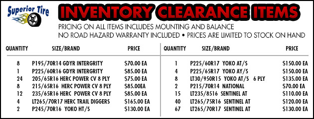 Inventory Clearance Items