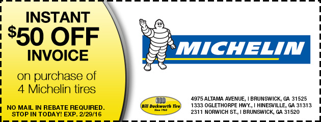 Instant $50 off invoice on purchase of 4 Michelin tires