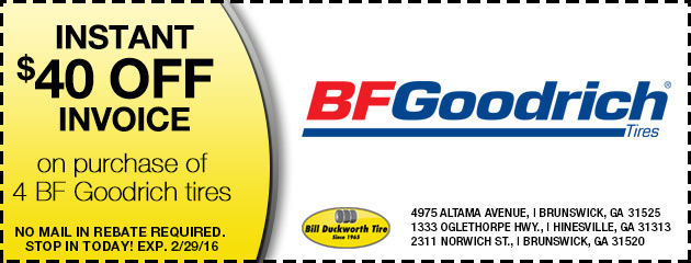 Instant $40 off invoice on purchase of 4 BF Goodrich tires