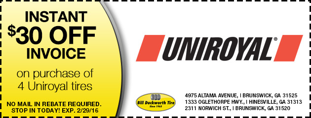 Instant $30 off invoice on purchase of 4 Uniroyal tires