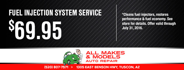 fuel injection system service $69.95