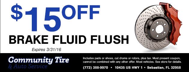 Brake fluid flush $15 off