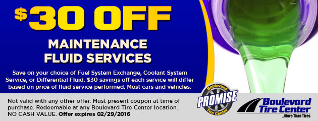 $30 OFF MAINTENANCE FLUID SERVICES