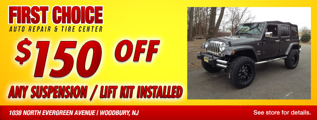 $150 off any suspension / lift kit installed