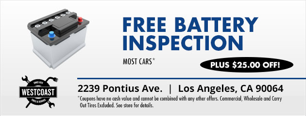 Free Battery Inspection Plus $25.00 off!