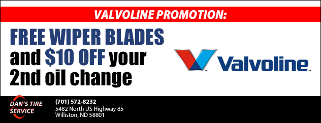 Valvoline promotion: Free wiper blades and $10 off your 2nd oil change