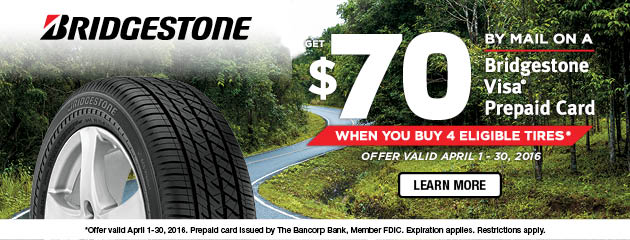 Bridgestone Spring Promo - Get Up To $70 Rebate